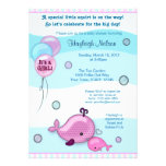 Little Whale Baby and Mommy kiss Baby Shower pink Personalized Announcements