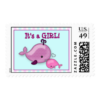 Little Whale Baby and Mommy Kiss Postage pink girl
