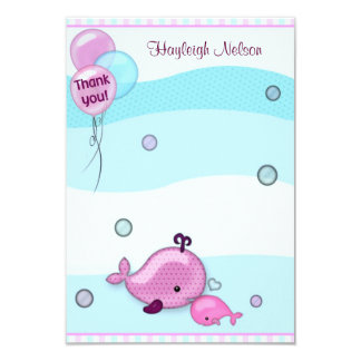 "Little Whale Baby and Mommy Thank You card 3.5""x5"