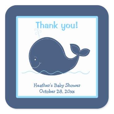 Little Whale Custom Favor Stickers Navy