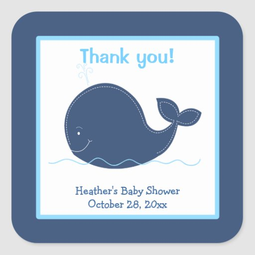 Little Whale Custom Favor Stickers Navy