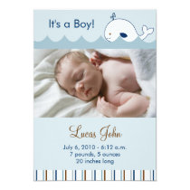 Little Whale Custom Photo Birth Announcements