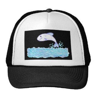 Little Whale Fish on black by Wendy C. Allen Trucker Hat