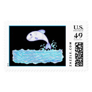 Little Whale Fish on black Stamps