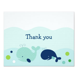 Little Whale Nautical Thank You Note Cards Custom Invitation