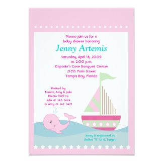 Little Whale Pink Sailboat Baby Shower 5x7 Card