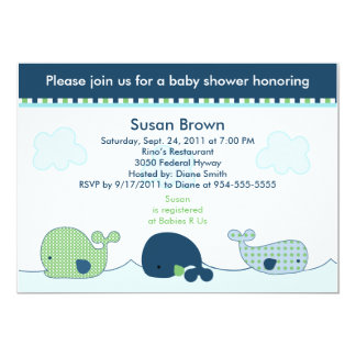 "Little Whales Baby Shower Invitation 5"" X 7"" Invitation Card"