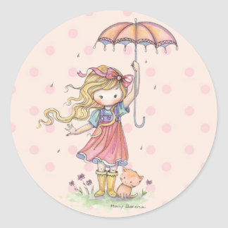 Little Whimsical Girl and Kitten in the Rain Classic Round Sticker