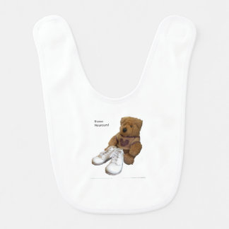 Little white bib with photo of teddy and baby shoe