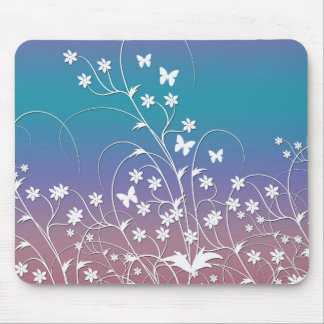 Little White Butterflies and Flowers Mouse Pad