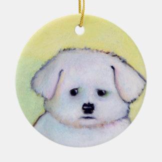 Little white dog art drawing cute Maltese puppy Ornament