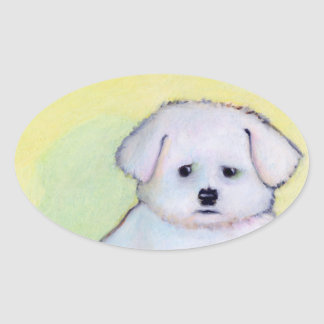 Little white dog art drawing cute Maltese puppy Oval Sticker