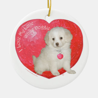 Little White Dog Rescue Valentine Double-Sided Ceramic Round Christmas Ornament