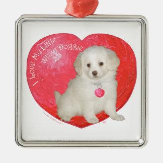 Little White Dog Rescue Valentine Square Metal Christmas Ornament