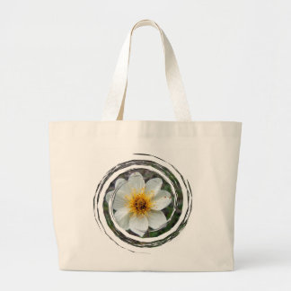 Little White Flower; No Text Canvas Bags