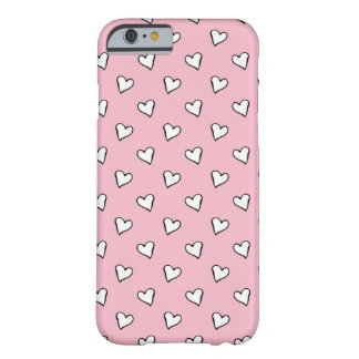 Little White Hearts on PInk Barely There iPhone 6 Case