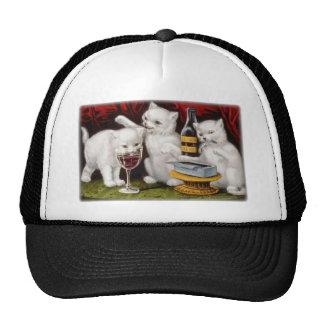 little white jolly kittens havin a good time wine trucker hat