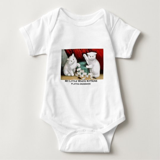 Little White Kittens Playing Dominoes Baby Bodysuit