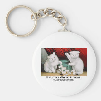 Little White Kittens Playing Dominoes Basic Round Button Keychain