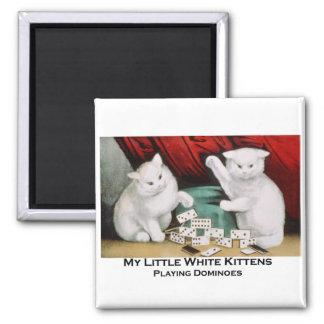 Little White Kittens Playing Dominoes Magnet