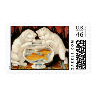 Little White Kitties Fishing Stamp