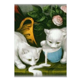 little white kitties getting into mischief milk 5x7 paper invitation card