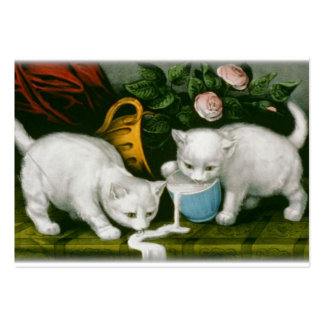 little white kitties getting into mischief milk large business card