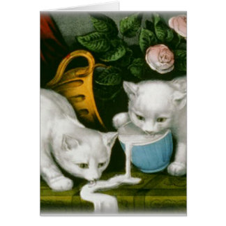 little white kitties getting into mischief milk stationery note card
