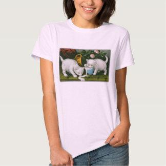 little white kitties getting into mischief milk tee shirts