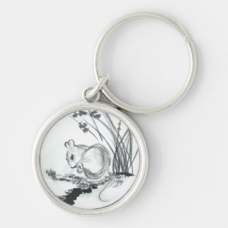 Little White Mouse Silver-Colored Round Keychain