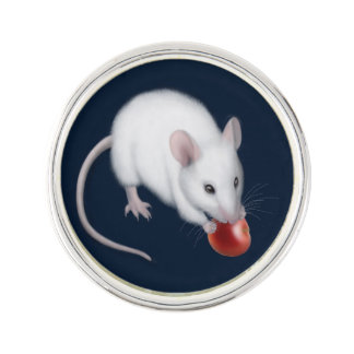 Little White Mouse with Cherry Lapel Pin