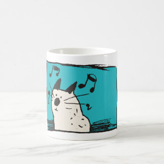 Little White Music Cat Mug