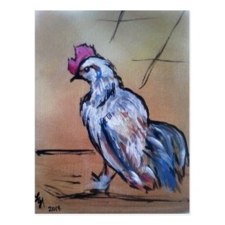 Little White Rooster Postcard