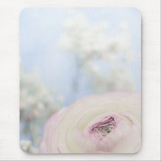 LITTLE WHITE ROSE MOUSE PAD