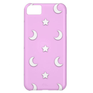 Little White Stars and Moons on Pink Case For iPhone 5C