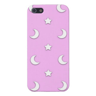 Little White Stars and Moons on Pink iPhone SE/5/5s Cover