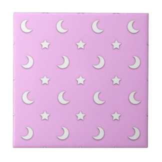Little White Stars and Moons on Pink Tile