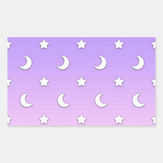 Little White Stars and Moons Pattern Rectangular Sticker