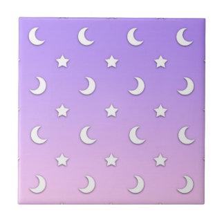 Little White Stars and Moons Pattern Tile