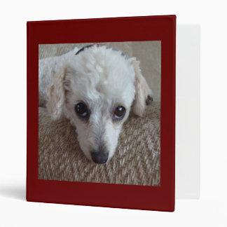 Little White Teacup Poodle Dog Vinyl Binder