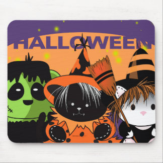Little WICTH 3  HALLOWEEN BAT CARTOON MOUSE PAD