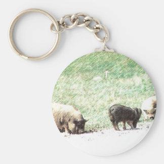 Little Wild Pigs Sketch Basic Round Button Keychain