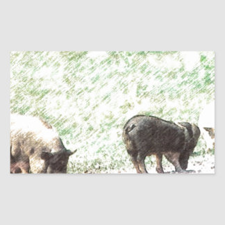 Little Wild Pigs Sketch Rectangular Sticker