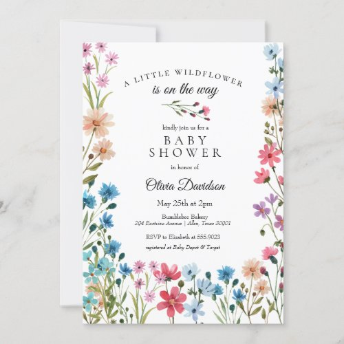 Little Wildflower Baby Shower Invitation
