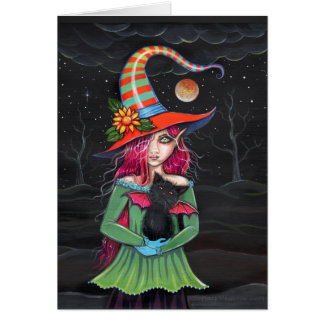 'Little Wings' Halloween Witch Cat Card