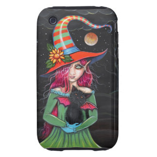 Little Wings Witch and Winged Cat Halloween Art iPhone 3 Tough Cases