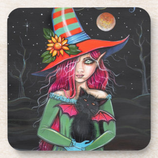 Little Wings Witch and Winged Cat Halloween Art Drink Coaster
