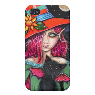 Little Wings Witch and Winged Cat Halloween Art iPhone 4/4S Cover