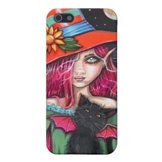 Little Wings Witch and Winged Cat Halloween Art iPhone SE/5/5s Cover