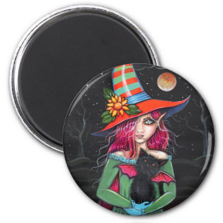 Little Wings Witch and Winged Cat Halloween Art Magnet